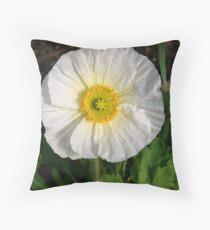 White Prickly Poppy Throw Pillow