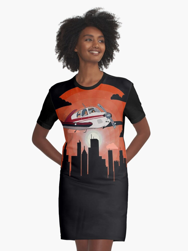 'City Sightseeing Flight   Beech Bonanza V-Tail Airplane Design' Graphic  T-Shirt Dress by RealPilotDesign