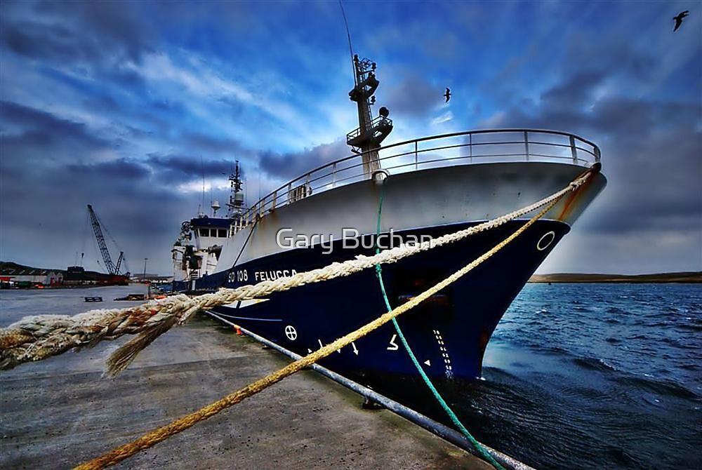 Irish Vessel-Felucca Sheltering In Shetland by Gary Buchan