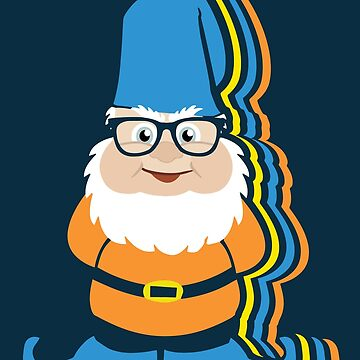 Funky Hipster Garden Gnome Illustration by ironydesigns