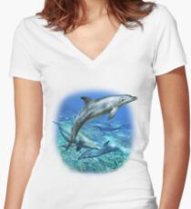 SPOTTED BOTTLENOSE DOLPHIN E Women's Fitted V-Neck T-Shirt