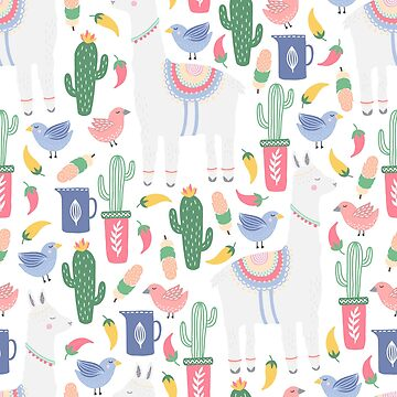 Fun Llama and Cactus Pattern by anabellstar