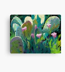 Cactus and California Poppies Canvas Print
