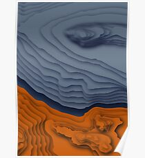 Blue/Orange Topographical Contour Map Pattern Poster