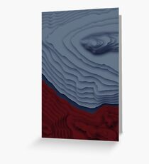 Red/Blue Topographical Contour Map Pattern Greeting Card