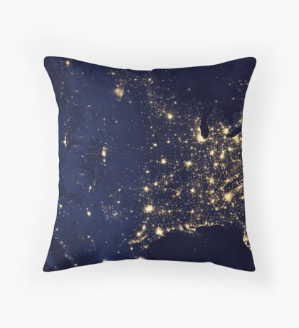 USA by Night Throw Pillow