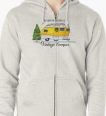 Vintage Camper Watercolor Zipped Hoodie