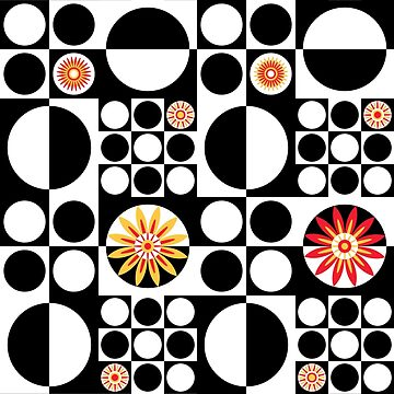 Mod Flower Power -Black and White by wickedrefined