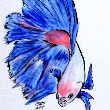 Art Doodle No. 33 Betta Fish by cjkell