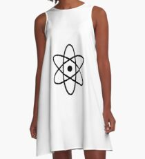 #atom #science #symbol #abstract #3d #atomic #isolated #sphere #nuclear #molecule #blue #illustration #physics #chemistry #technology #molecular #orbit #electron #energy #circle #icon #sign #white A-Line Dress