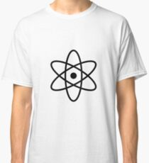 #atom #science #symbol #abstract #3d #atomic #isolated #sphere #nuclear #molecule #blue #illustration #physics #chemistry #technology #molecular #orbit #electron #energy #circle #icon #sign #white Classic T-Shirt