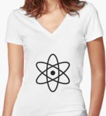 #atom #science #symbol #abstract #3d #atomic #isolated #sphere #nuclear #molecule #blue #illustration #physics #chemistry #technology #molecular #orbit #electron #energy #circle #icon #sign #white Women's Fitted V-Neck T-Shirt