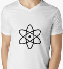 #atom #science #symbol #abstract #3d #atomic #isolated #sphere #nuclear #molecule #blue #illustration #physics #chemistry #technology #molecular #orbit #electron #energy #circle #icon #sign #white Men's V-Neck T-Shirt