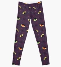 Reptile witch eyes retro pattern  Leggings