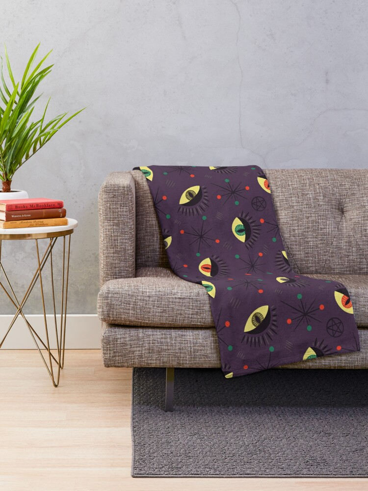 Alternate view of Reptile witch eyes retro pattern  Throw Blanket