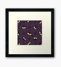 Reptile witch eyes retro pattern  Framed Print