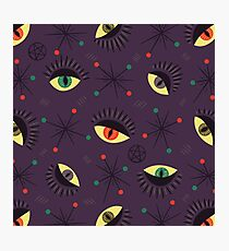 Reptile witch eyes retro pattern  Photographic Print