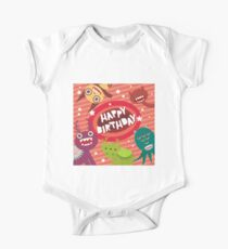 Happy birthday Funny monsters card  One Piece - Short Sleeve