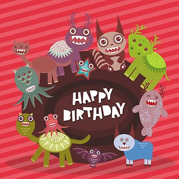 Happy birthday Funny monsters card  by EkaterinaP