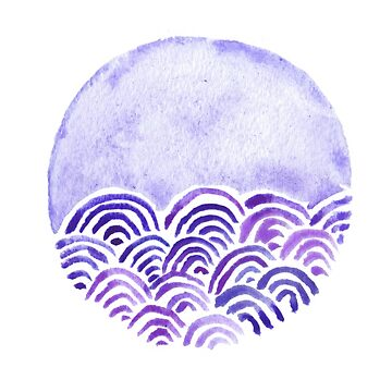 Seigaiha or seigainami literally means wave of the sea. japanese pattern abstract  purple white watercolor by EkaterinaP