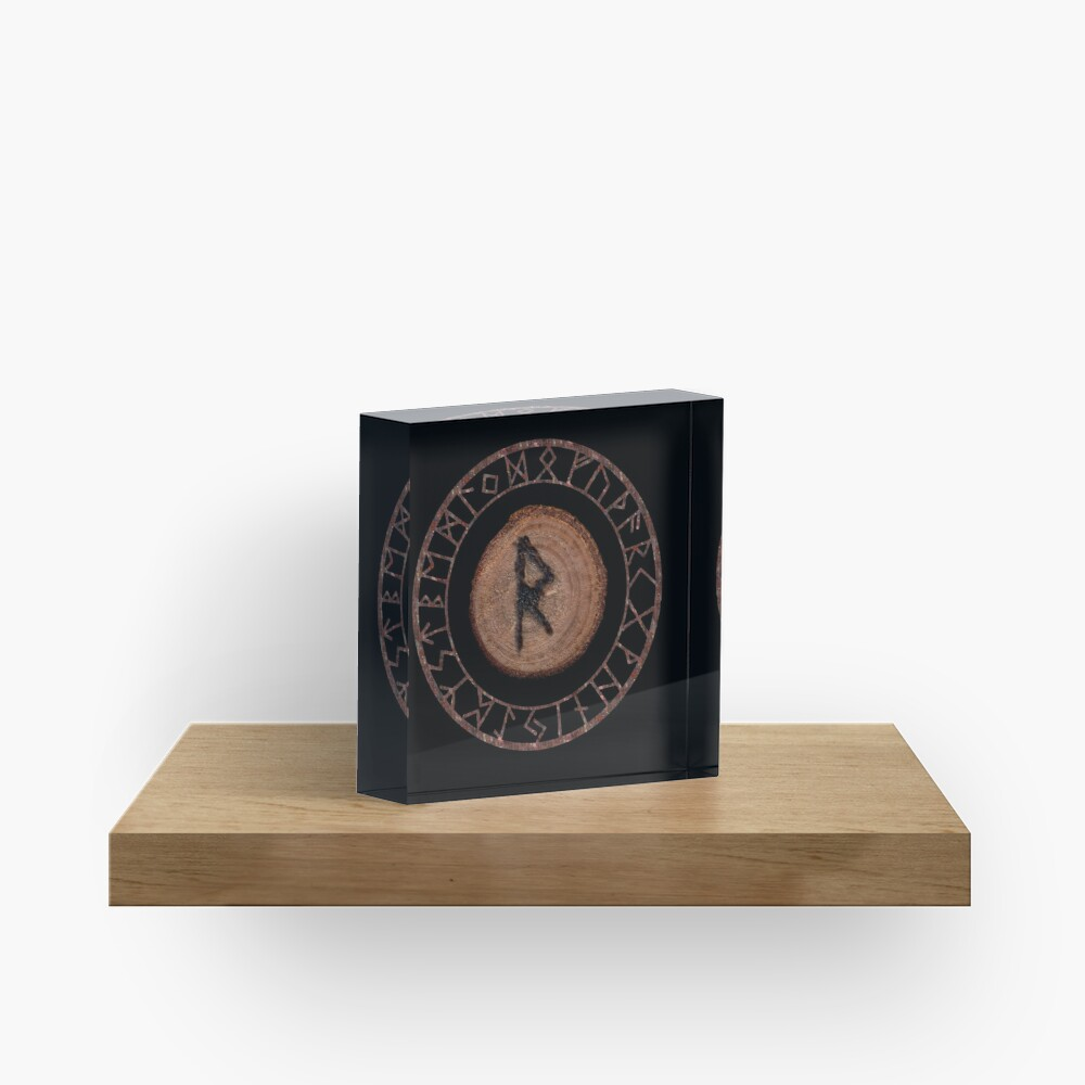 Raidho Elder Futhark Rune Travel, journey, vacation, relocation, evolution, change of place Seeing a larger perspective. Seeing the right move Personal rhythm, world rhythm, dance of life. Acrylic Block