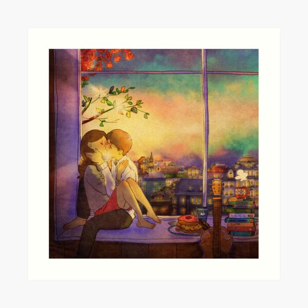 Romantic kiss Art Print