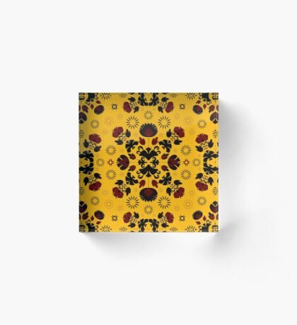 Fiesta Folk Yellow #redbubble #folk Acrylic Block