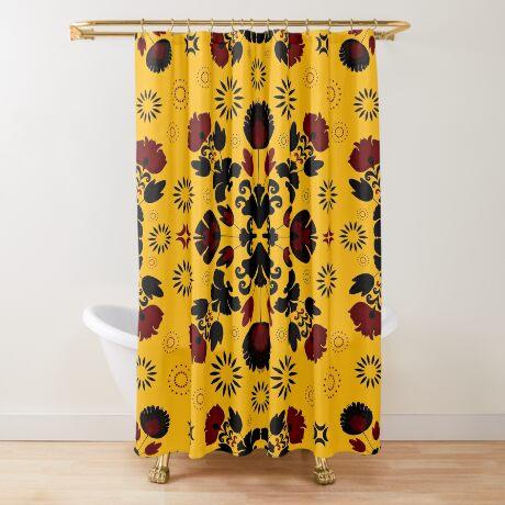 Fiesta Folk Yellow #redbubble #folk Shower Curtain