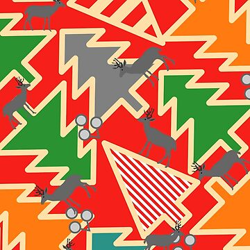 Retro deer with Christmas trees by cocodes