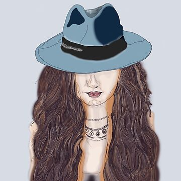 portrait of a gangster women in a hat by jackpoint23