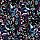 Vibrant Midnight Nature Doodle by TigaTiga