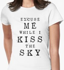 Excuse Me While I Kiss The Sky (White + Purple Version) Women's Fitted T-Shirt