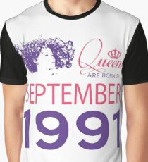 It's My Birthday 27. Made In September 1991. 1991 Gift Ideas. Graphic T-Shirt