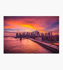 Sunset over Lower Manhattan Photographic Print