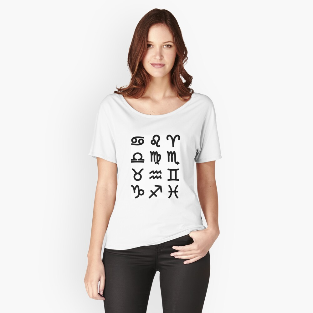 #Alphabet #zodiac #sign #icon symbol text set isolated word astrology Relaxed Fit T-Shirt