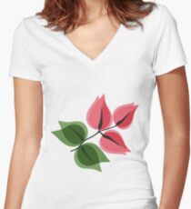 buganvillea Women's Fitted V-Neck T-Shirt