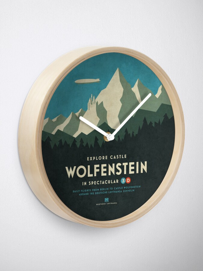 Alternate view of Castle Wolfenstein Vintage Tourism - 3D Blue Clock