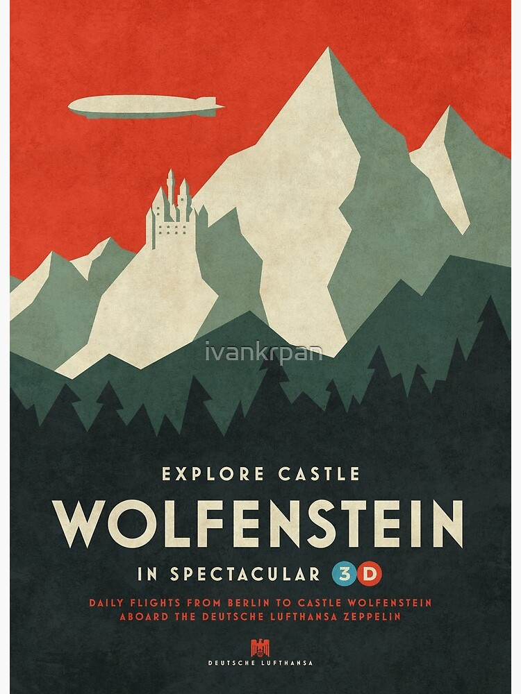 Castle Wolfenstein Vintage Tourism - 3D Blue iphone 11 case
