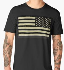 AMERICAN ARMY, Soldier, American Military, Arm Flag, US Military, IR, Infrared, USA, Flag, Reverse side flag, on BLACK Men's Premium T-Shirt