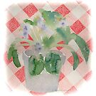 African Violet on Checkered Tablecloth by annimoonsong