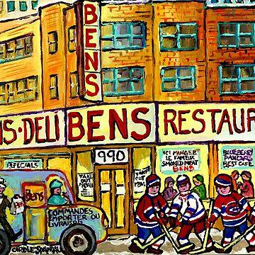 BEN'S DELICATESSEN VANISHED MONTREAL WINTER STREET HOCKEY SCENE by CaroleSpandau