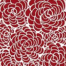 Hand-Drawn Pattern | Red Ruby Doodle Pattern (White Lines) by coloringiship