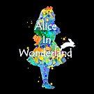 Colorful Watercolor Alice In Wonderland by maryedenoa