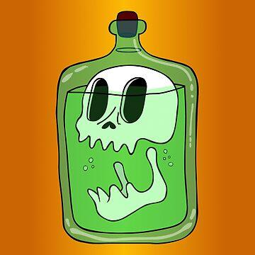 Skull In Bottle by lonebannana