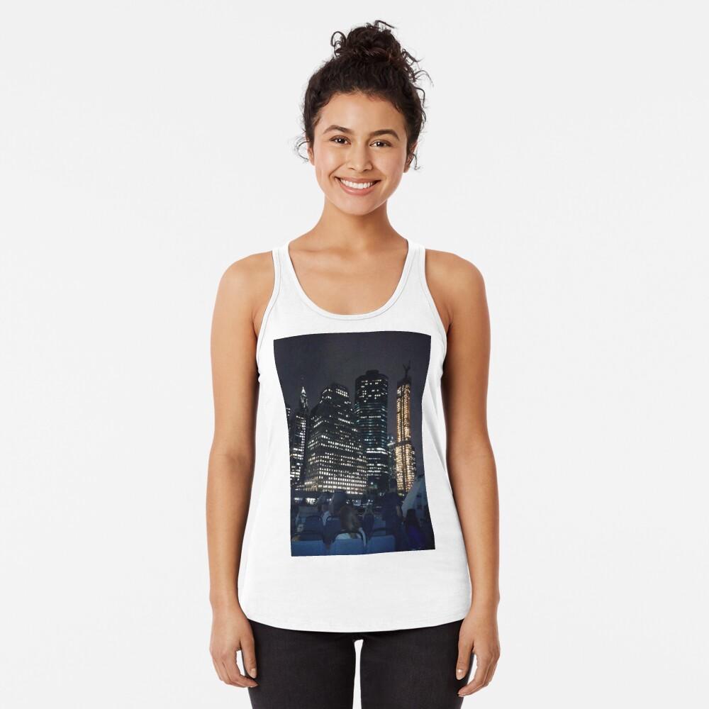 #skyscraper #city #architecture #business #cityscape #tallest #office #finance #dusk #tower #modern #sky #outdoors #horizontal # #colorimage #copyspace #builtstructure #downtowndistrict #urbanskyline  Racerback Tank Top
