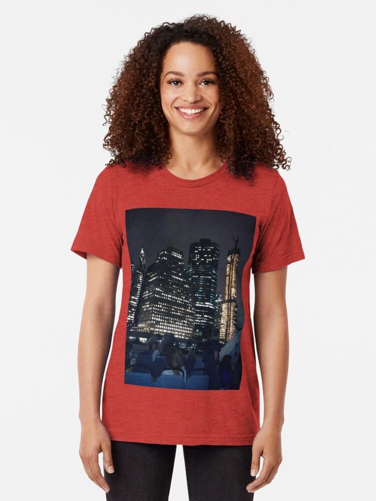 Alternate view of #skyscraper #city #architecture #business #cityscape #tallest #office #finance #dusk #tower #modern #sky #outdoors #horizontal # #colorimage #copyspace #builtstructure #downtowndistrict #urbanskyline  Tri-blend T-Shirt