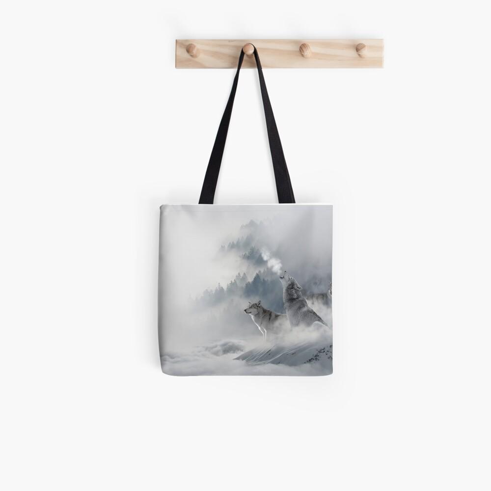 Wolves Snowscape Tote Bag