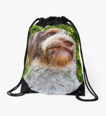 Brown Roan Italian Spinone Dog Head Shot - Robyn Drawstring Bag