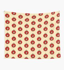 RED APPLE with a really CUTE WORM art on PILLOW Wall Tapestry