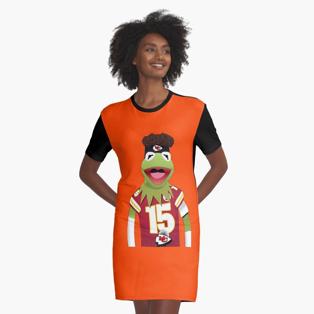 Kermit Mahomes Meme Graphic T-Shirt Dress Front